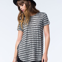 Love Fire Hachi Shirttail Womens Tee Black/Gray  In Sizes