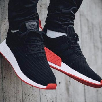 Best Online Sale Adidas NMD R2 Primeknit Black BA7252 Boost Sport Running Shoes Classic Casual Shoes Sneakers
