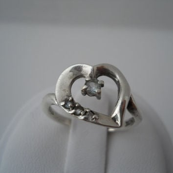 Sterling Silver 925 Lenox Aquamarine Heart Ring Lenox Sterling Size 7
