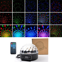 LED RGB Crystal Magic Ball Effect Light DMX Disco Dj Stage Lighting Voice Control Remote Control Party Bar Pub Light (Color: Black)