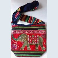MG Decor Madhu's Collection Gypsy Recycled Patchwork Sling Cross Body Elephant Bag/Purse