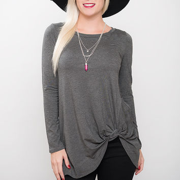 Twisted Knot Tunic Top - Charcoal