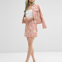 ASOS Jacquard A-line Mini Skirt with Raw Edge Co-ord