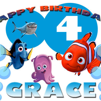 Personalized Custom Birthday T-shirt Disney Finding Nemo