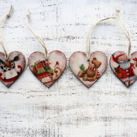 Wooden Christmas ornaments Christmas decoration vintage looking hearts boho ornaments rustic cottage chic shabby chic