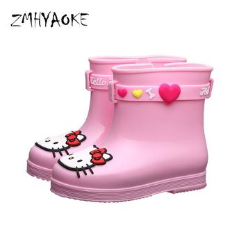 ZMHYAOKE 2018 New Rubber Rain Boots Baby Children Water Shoes for Girls Boys Waterproof Hello Kitty Cats Cartoon Rain Boots Kids