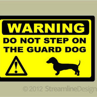 Dachshund Guard Dog Warning Sticker