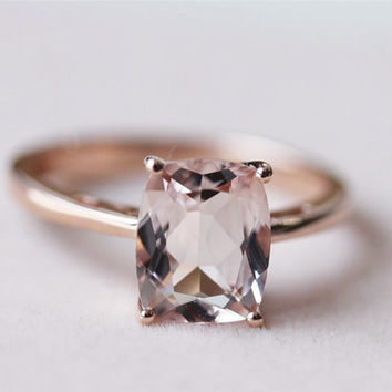 Cushion Cut 7x9mm Morganite Ring Prong VS Morganite Wedding Ring Engagement Ring - 14K Rose Gold Ring Anniversary Ring