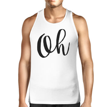 Oh Mens White  Sleeveless Shirt Calligraphy Gym Workout Top