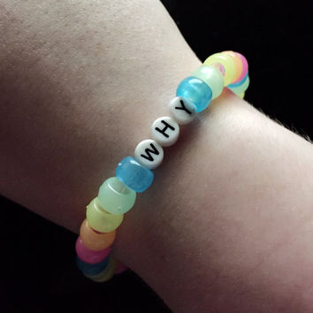 "Rainbow Glow in the Dark ""WHY"" Pastel Beaded Bracelet"