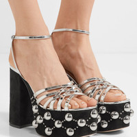 Miu Miu - Metallic leather and studded suede platform sandals