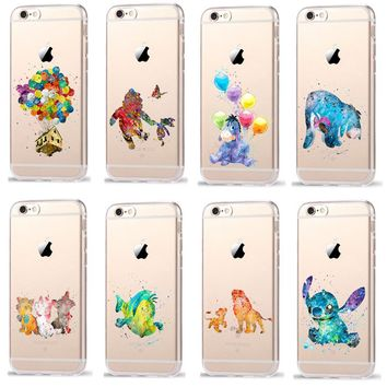 Cartoon Winnie Pooh Lion King Transparent Plastic Cover Case For iPhone 8 7 6 6S Plus X 5 5S SE Case Coque Fundas Cases
