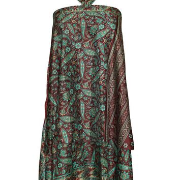 Mogul Wrap Skirt PREMIUM Silk Sari Reversible Skirt Maroon/Green Multi Wear Dress