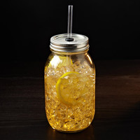 Giant Mason Jar To Go Tumbler || 32 oz. Mason Jar with Lid + Glass Straw