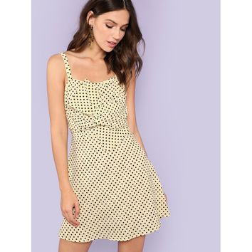 Twist Front Polka Dot Fit and Flare Dress
