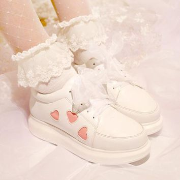 women ladies princess Japanese Lolita Sneakers Shoes pink Love Sweet heart Cute Student Princess Girl Cosplay Shoes