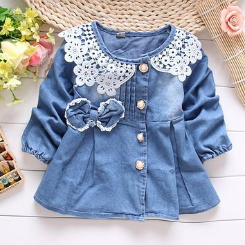 spring autumn kid's children baby girls coat jacket outwear denim jeans lace patchwork bow coat  S0862