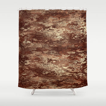 Brown wood bark texture Shower Curtain by Natalia Bykova