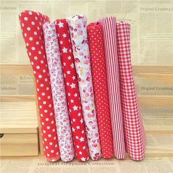 Hoomall 7PCs/set 25*25cm Red DIY Patchwork Fabrics For Sewing The Cloth Baby Quilting Cotton Fabric For Needlework