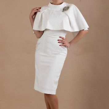 White Cape and Fitted Dress - Free Custom Sizing