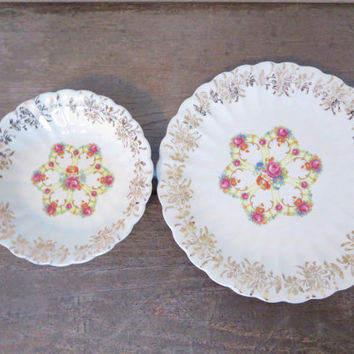 Bohemian Storage / China Bowl and Plate / Gold Trimmed Bowl and Plate / Boho Jewelry Storage / Bohemian Decor / Antique Franklinware