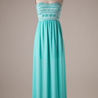 Aztec Maxi Dress - Mint
