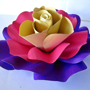 Giant Colorful Paper Rose, Colorful Paper Flower, Summer Wedding Decor, Rainbow Rose, Purple Flower Bloom, Big Flower, Extra Large Rose