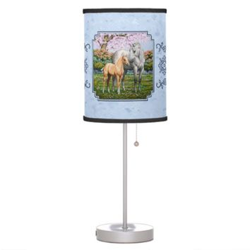 Quarter Horse Mare and Foal Blue Desk Lamps
