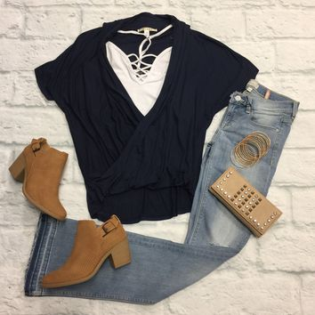 Get Wrapped Top: Navy