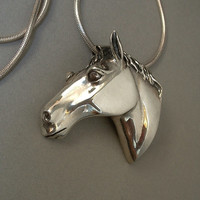 Vintage STERLING Silver HORSE Head BROOCH Pendant Stallion Necklace Equestrian Jewelry 22.3 Grams c.1980s