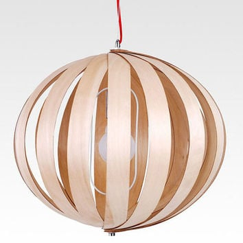 Wood Lantern 40W Restaurant Saloon Pendant Lighting - Handmade Wooden Ball Ceiling Lamps