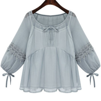 Blue Lace Chiffon Blouse