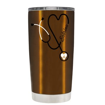 Personalized White Stethoscope Nurse Heart on Translucent Copper 20 oz Tumbler Cup