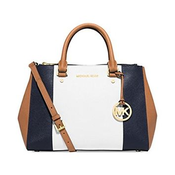 Michael Kors Sutton Center Stripe Medium Satchel Navy/White/Peanut/Gold