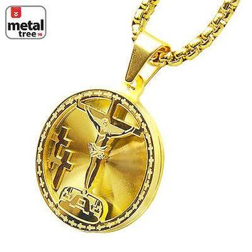 """Jewelry Kay style 14k Gold Tone Stainless Steel 3D Medallion Jesus Pendant 24"""" Box Chain SCP 165 G"""