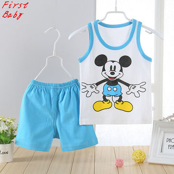 2017 Summer baby girls boys cartoon mickey vest + short suit fashion cool childrens casual clothes infant soft wear 17F401