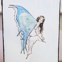 ON SALE Blue Fairy Painting - Girls Room Decor - Original Mixed Media - Artwork on Canvas - 14 X 18 Inches.