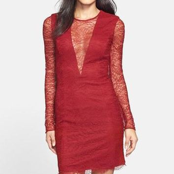 Cynthia Rowley - 771075 Illusion Plunging Lace Sheath Short Dress