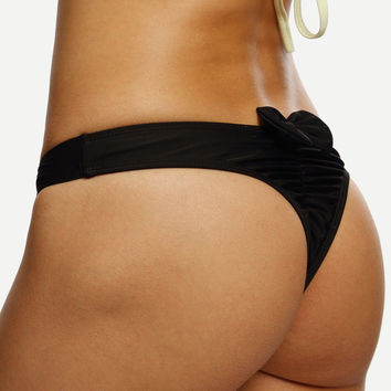 Black Ruched Bow Back Bikini Bottom