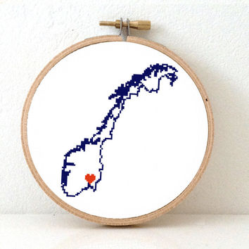 Norway Map Cross Stitch Pattern. Norway Needlepoint pattern highlighting Oslo. Scandinavian christmas decor. Norwegian Needlepoint