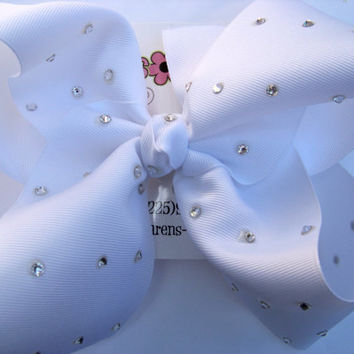 JUMBO MEGA XLARGE Solid Swarovski Rhinestone School Uniform Boutique Hair Bow Choose Color Karens Creations