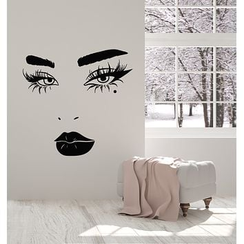 Vinyl Wall Decal Eyelashes Lips Beautiful Female Face Makeup Lady Cosmetic Salon Stickers Mural (g2511)