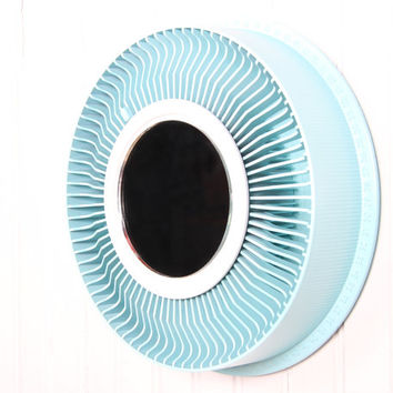 Wall Mirror Decorative / Vintage Baby Blue Mirror / Round Mirror  Wall Mirrors / Sunburst Mirror Circle Mirror / Light Blue Decor Recycled