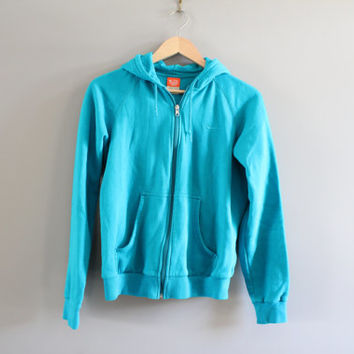 Nike Zip up Hoodie Turquoise Sweatshirt Fleece Lining Hoodie Grunge Hipster Minimalist Unisex Vintage Size Youth 12-14/Women's S #T150A