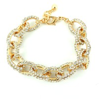 """Chic Silver or Gold Women's Rhinestone Crystal Pavé Bracelet Large Oval Chain Link 7.5""""-85"""" long"""