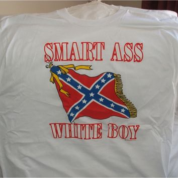 Rebel Flag on White Extra Large (XL) Tee Shirt - Smart Ass White Boy