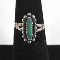 Vintage BELL Sterling Silver & Green Turquoise Ring - Size 5