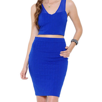 Royal Blue Textured Two-Piece Dress