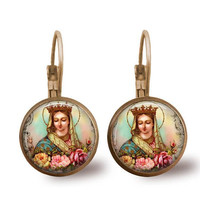 Religious Earrings Mystical Rose Virgin Mary Catholic Earrings Antique Bronze Leverback