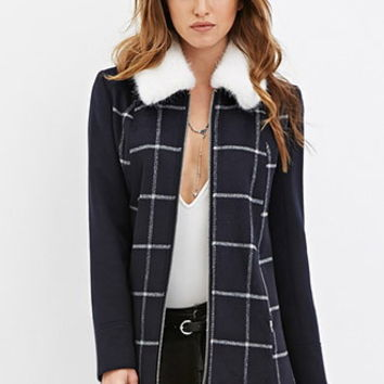 Faux Fur Windowpane-Patterned Coat
